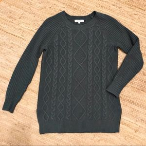 Madewell Forest Green Cable Knit Sweater